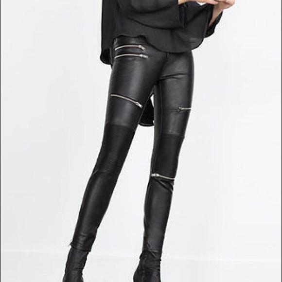 47e91903 Zara Woman Black Faux Leather Biker Pants Size M NWT